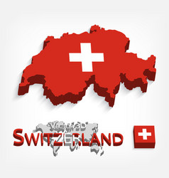 switzerland 3d flag and map vector image
