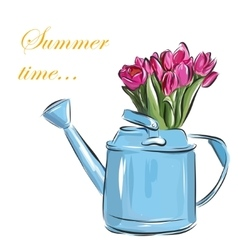 watering can with tulips on a white vector image