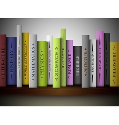 Books on shelf vector image