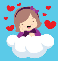 cute girl with eyes closed on cloud valentines vector image vector image