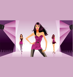 fashion review under the spotlights vector image vector image