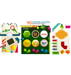 mega collection of stickers buttons ribbons and vector image