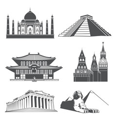 travel silhouette landmarks with famous world vector image vector image