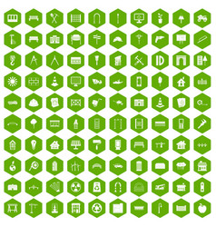 100 architecture icons hexagon green vector image