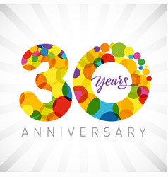 30 years bubbles ribbon colorful logo vector