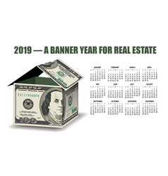 a 2019 real estate calendar with a house made of m vector image