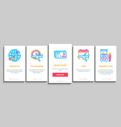 Airline and airport onboarding elements icons set vector
