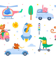 animal transport seamless pattern cute characters vector image