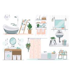 Bathroom cartoon toilet furniture restroom with vector