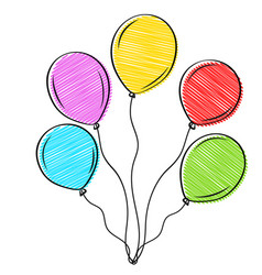 beautiful hand drawn balloons red yellow blue vector image