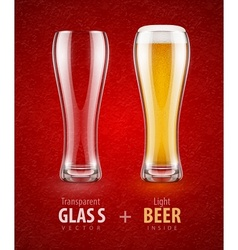 Beer in the glass and empty vector image