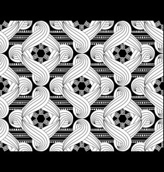 black and white ornamental braided shapes vector image