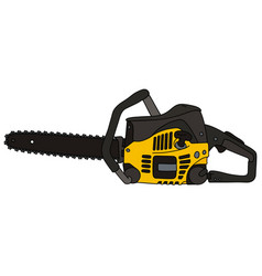 Black and yellow chainsaw vector