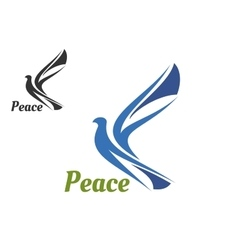 blue silhouette pigeon bird vector image