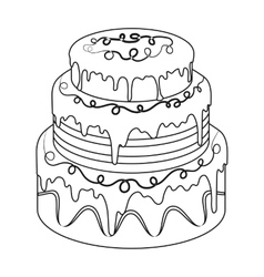 Blue three-ply cake icon in outline style isolated vector image