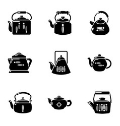 Boil water icons set simple style vector