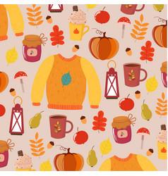 Bright big autumn pattern light background vector