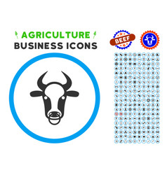 Bull ring rounded icon with set vector