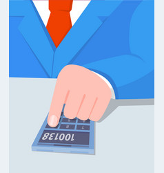 businessman doing calculations vector image