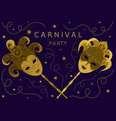 carnival party card with two golden masks vector image