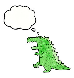 cartoon dinosaur with thought bubble vector image