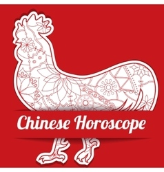 Chinese horoscope background with paper cock vector