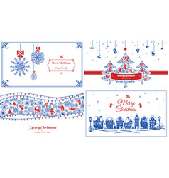 christmas banner set simple style vector image