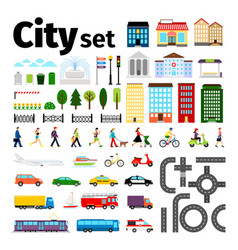 City elements isolated on white background urban vector