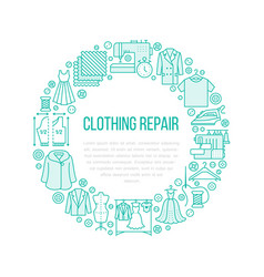 Clothing repair alterations studio equipment vector