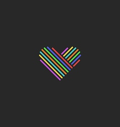 Colored thin line heart logo sign of love mockup vector image