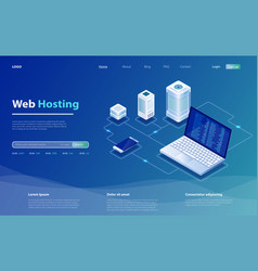 concept server hosting big data flow processing vector image