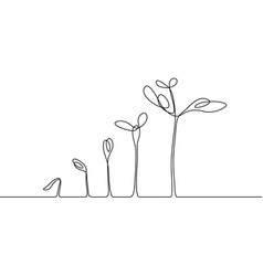 Continuous one line drawing plant growth process vector
