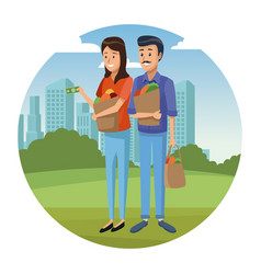 Couple and groceries vector
