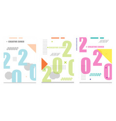 Creative cover design with 2020 isolated vector