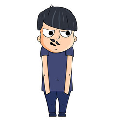 cute cartoon young man with paranoid emotions vector image