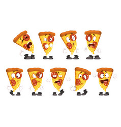cute funny slice pizza with different emotions vector image