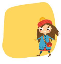 cute girl walking in autumn clothes seasonal vector image