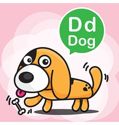D dog color cartoon and alphabet for children vector