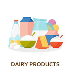 dairy products background in flat style vector image