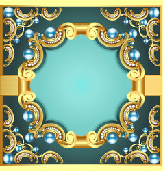 Decorative frame with pattern gold pearl vector