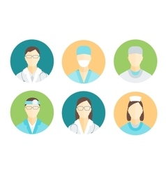 Doctors and Medical Staff in Circle Set vector