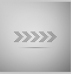 Dots arrow icon isolated on grey background vector