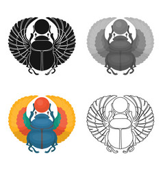 Egyptian beetle ancient egyptsingle icons in vector