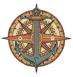 emblem with ship anchor wind rose and old compass vector image