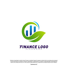 financial with leaf logo design concept green vector image