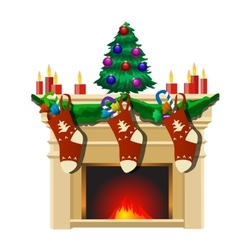 Fireplace with Christmas tree and gifts socks vector image
