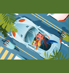 flat young woman friend in cabriolet car vector image