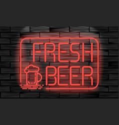 fresh beer neon sign on brick wall background vector image