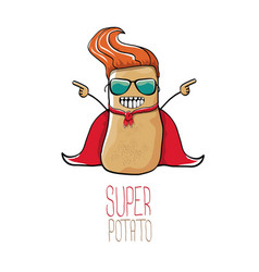 Funny cartoon cute brown super potato vector