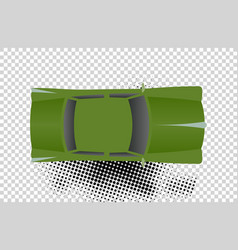 green classic car from top view vector image